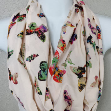 Silky Colorful Butterfly Printed Infinity Scarf Lightweight Summer Butterflies Scarf Womens Fashion Scarves Girls Butterfly Circle Scarves