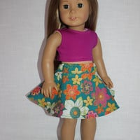 18 inch doll clothes, floral print skater/circle skirt and crop top, american girl, Maplelea