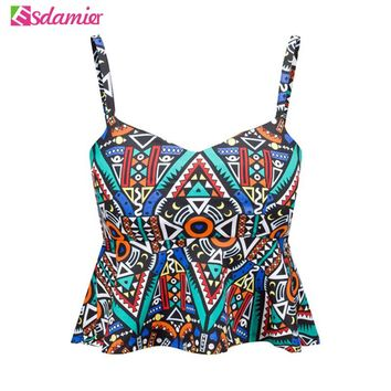 Sexy Bustier Crop Top Fashion Floral Print Strap Crop Top With Ruffle Padded Bra Women Bralette Cute Party Cami Tank