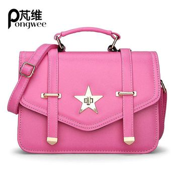 PONGWEE Small Women women Leather Handbags Ladies Hand Bags  Summer Fashion Girls School Messenger Bags Cute Women Bag 2017