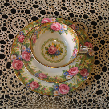 Vintage Paragon 3 Piece Tea Setting, Double Warrant Stamp,Tapestry Rose Pattern