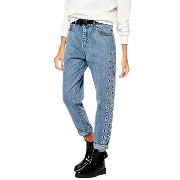 New  Fashion Rivets Ripped High Waist Jeans Straight Eyelet Detail Boyfriend Denim Jeans Women Pants Female Jeans new