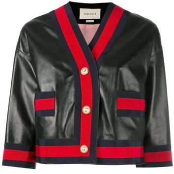 DCCKIN3 Gucci Web Trim Leather Jacket