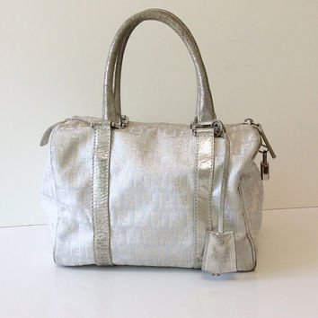 Authentic Fendi Metallic Boston Bag