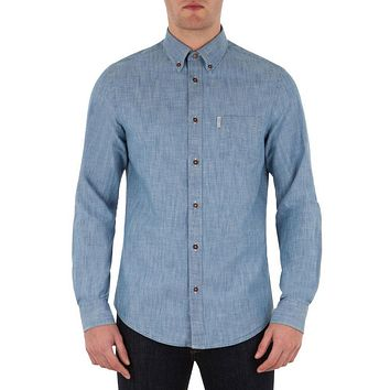 Ben Sherman - New Chambray Mens Button-Up Long Sleeve Shirt