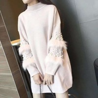 MY MALL METRO  Women Sweater Dress Pearl Long-Sleeve Turtleneck  Check Homepage for Promo Codes! <
