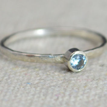 Classic Sterling Silver CZ Aquamarine Ring