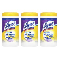 LYSOL Dual Action Disinfectant Wipes - CITRUS, 75 Count, 3 Pack
