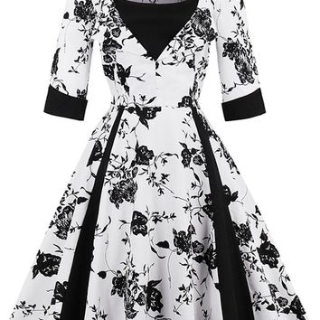 Atomic White Floral Patchwork Swing Dress