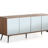 Modrest Kennedy Modern Mirrored Walnut Buffet