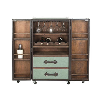 Steamer Trunk Bar Cabinet in Sage