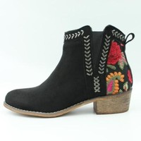 Embroidered Booties - Black