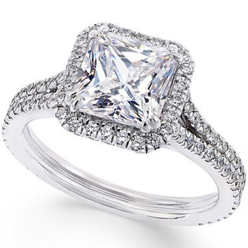 Certified Diamond Asscher Engagement Ring (2-7/8 ct. t.w.) in 18k White Gold