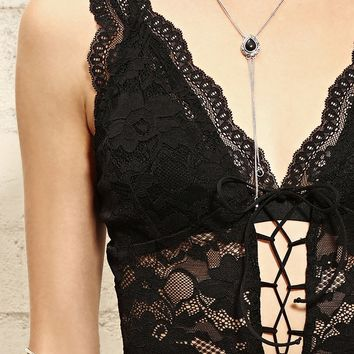 Lace-Up Lace Bodysuit