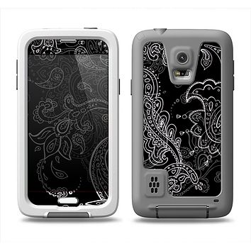 The Black with Thin White Paisley Pattern Samsung Galaxy S5 LifeProof Fre Case Skin Set