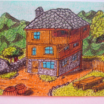 Original ACEO illustration 'Cottage dream', cottage house aceo drawing, folklore aceo house ink and pencil drawing