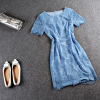 Casual Blue Lace Embroidered Zipper Back Lace Sleeve Mini Dress