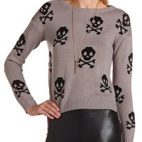 Skull Print Pullover Sweater: Charlotte Russe