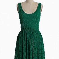 setting sun green lace dress