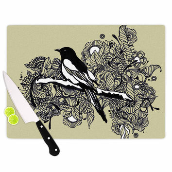 "Sonal Nathwani ""Magpie"" Tan Bird Cutting Board"