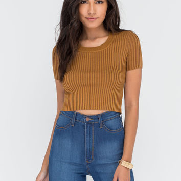 Warm Front Ribbed Scoop Neck Top