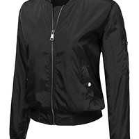 Womens Classic Multi-Layered Zip Up Bomber Jacket with Snap On Pockets