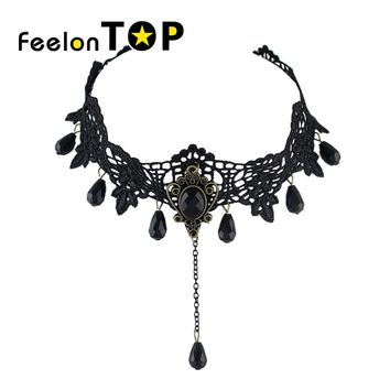 Feelontop Punk Rock Gothic Black Hollow out Flower Tattoos Lace Choker Necklace with Water Drop Black Beads Pendant