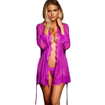 Magenta Sheer Scallop Laced Trim Robe