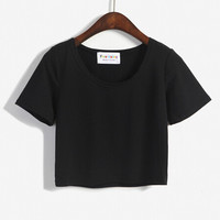 Crop Top  Style   Solid Sexy O-neck Short Sleeved Slim T-Shirt All-match Leisure tshirt Tee 5 Color
