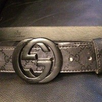 """GENUINE mens leather GUCCI belt with GG buckle W 28""""- 35 """". 44"""" L RRP £ 245"""