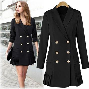 New Autumn Women Fashion Long Pleated Blazers Double Breasted Long Sleeve Jacket Plus Size Suit Coat Outwear Tops