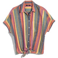 Madewell Rainbow Stripe Tie Front Shirt | Nordstrom
