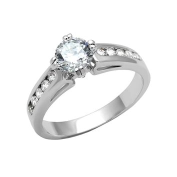 Sweet Romance - Women's Rhodium Plated Brass Solitaire Clear CZ Ring