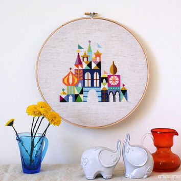 Pretty Little City - Retro Disney Inspired Cross stitch embroidery pattern PDF - Instant download