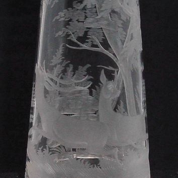 999190 Tall Crystal Vase W/Deep Engraved Deer & Trees, Straight