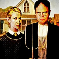 Dwight Schrute & Angela Martin (The Office: American Gothic) Art Print by Silvio Ledbetter