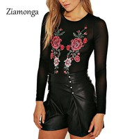 Ziamonga Black Mesh Bodysuit Women Long Sleeve O Neck Female Sexy Lace Slim Body Suit Rose Bodysuit For Women Flower Body Women