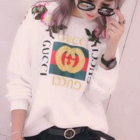 GUCCI : flower rose print sweater hoodie pullover Black G-AGG-CZDL