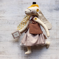 Soft stuffed bunny girl rabbit toy 12' jointed baby shower gift nursery decor ginger rust brown reading girl