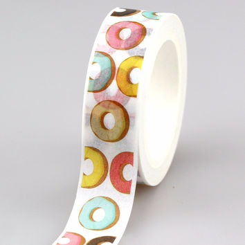 1X Cute Donut Design Adhesive Tape set for Christmas Print Craft scrapbooking DIY Sticky Deco Masking Japanese Paper Washi Tape