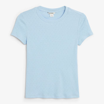 Ribbed tee - Feeling blue- Tops - Monki DK