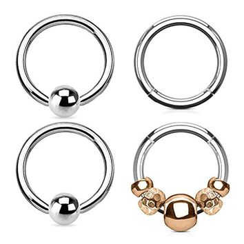 BodyJ4You 4PCS 16G Nose Hoop Seamless Hinged Segment Ring Rose Goldtone Beads Surgical Steel Captive Bead