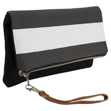 Black White Stripes Clutch