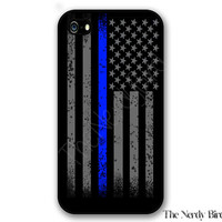 Thin blue line American flag iPhone 4, 5, 5c, 6 and 6 plus and Samsung Galaxy s3, s4 and s5 phone case