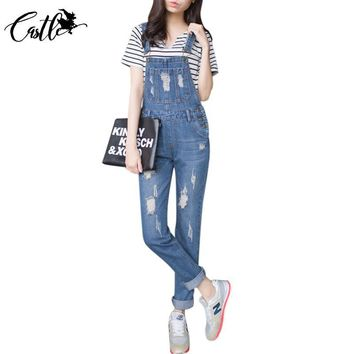 Womens Jumpsuit Denim Overalls 2017 Autumn Casual Ripped Hole Loose Pants Ripped Pockets Jeans Coverall Casual Retro Femme