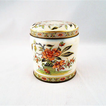 Small Vintage 1970's Decorative Tea Caddy Tin Made in England Floral Design by Duher 4""