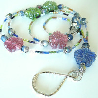 Beaded ID Badge Lanyard, Multi-Color Glass Flowers,Silver
