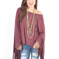 MAROON Mineral Washed Oversized Top