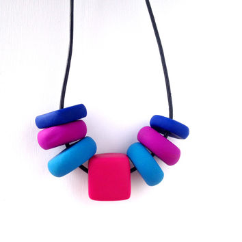 Soft Rock Necklace | Lucky Seven in Violet, Turquoise, Fuchsia and Cobalt