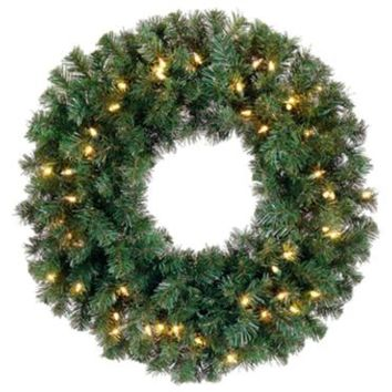 "12"" Pre-Lit Deluxe Windsor Pine Artificial Christmas Wreath - Clear Lights"
